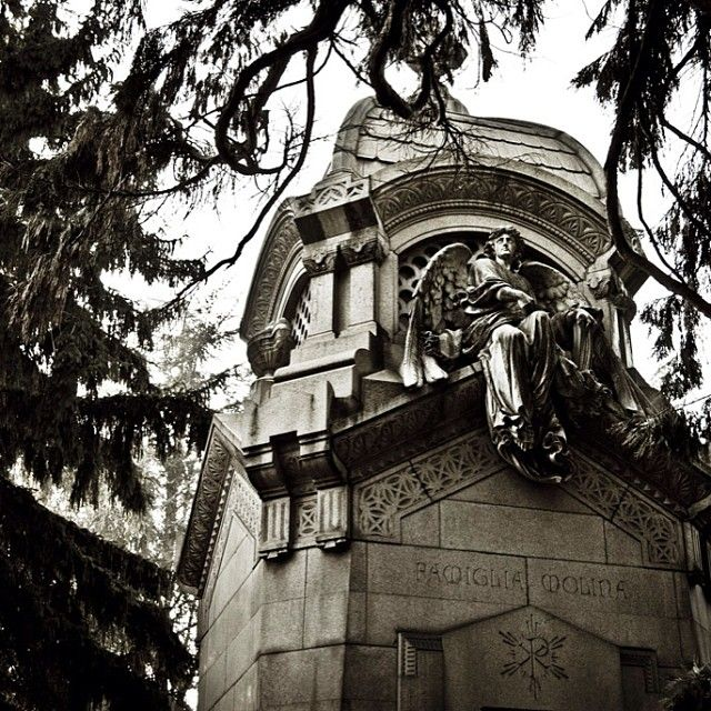 Milano Monumental Cemetery. It's is noted for the abundance of artistic tombs and designed by Carlo Maciachini.