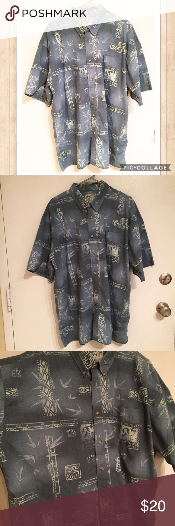 Big Dog Men's Aloha Hawaiian Dog Button Up Big Dog men's casual short sleeve Aloha Hawaiian Button Up shirt. Size extra large. #bigdogs #dog #casual #shortsleeve #aloha #hawaiian #buttonup #xl #punkydoodle  No modeling Smoke free home I do discount bundles Big Dogs Shirts Casual Button Down Shirts