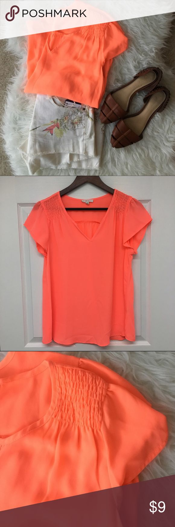 Bright coral blouse Short sleeve blouse with ribbed shoulder detail. Great summer top! mine Tops Blouses
