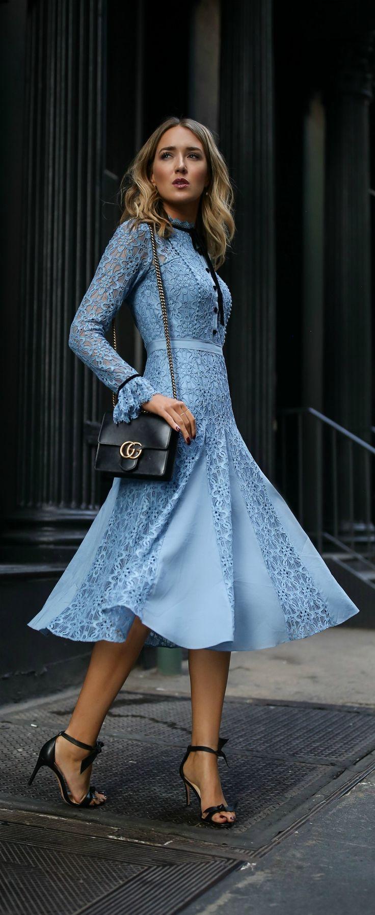 Click for outfit details! // Blue lace dress, black ankle strap bow heels, black crossbody handbag {Alexandre Birman, Gucci, baby shower, weekend wear} #anklestrapsheelschic #anklestrapsheelsoutfit