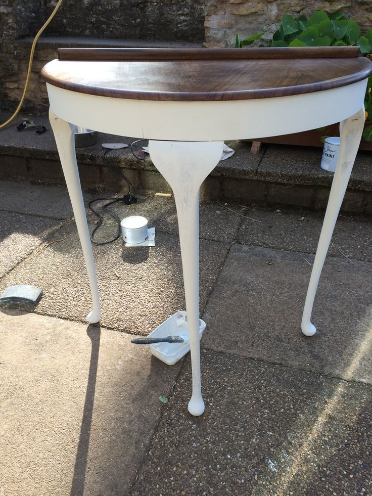 Half Moon Vintage Hallway Table   Sanded Down And Painted With Old White  And Restored The