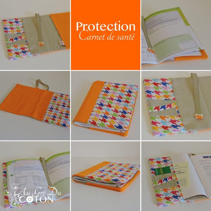 Housse de protection pour carnet de santé Dimensions : 16cm x 21,5cm Tissus : Cotons
