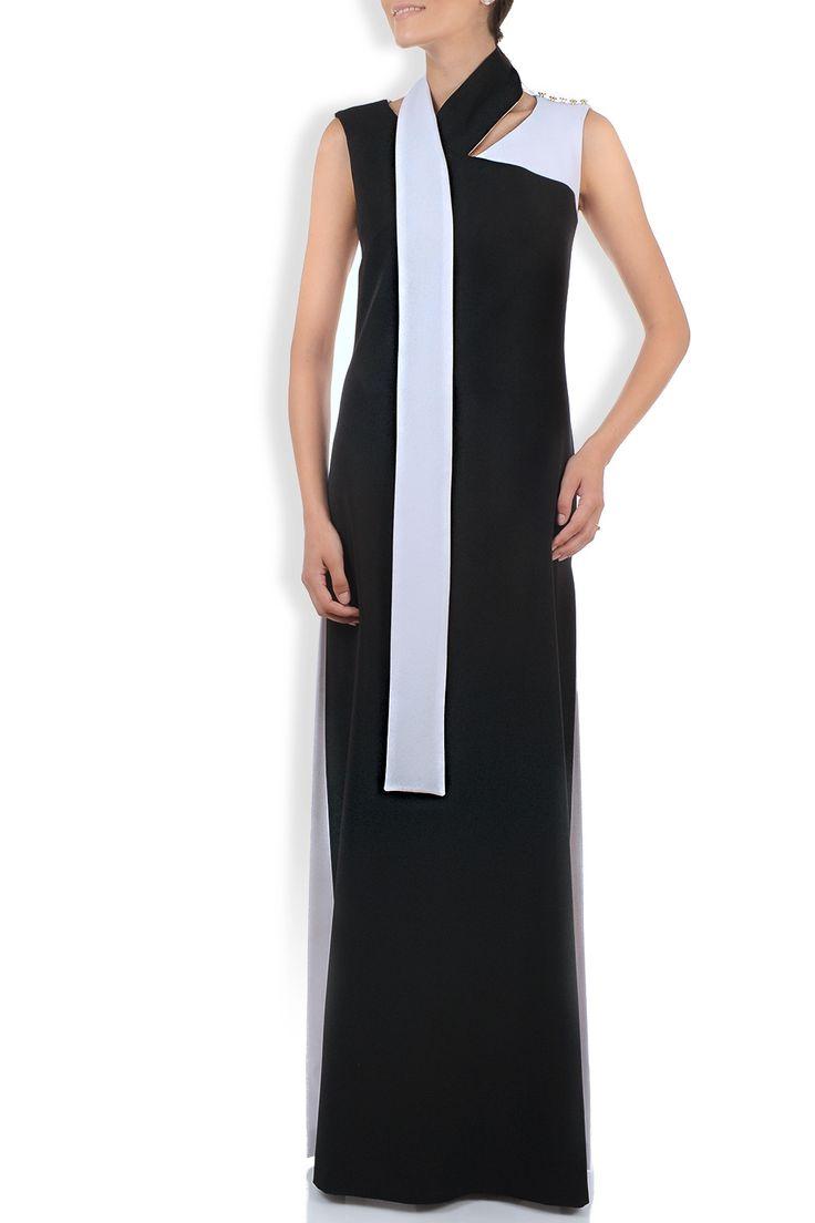 Rochie lunga alb-negru cu cordon-esarfa