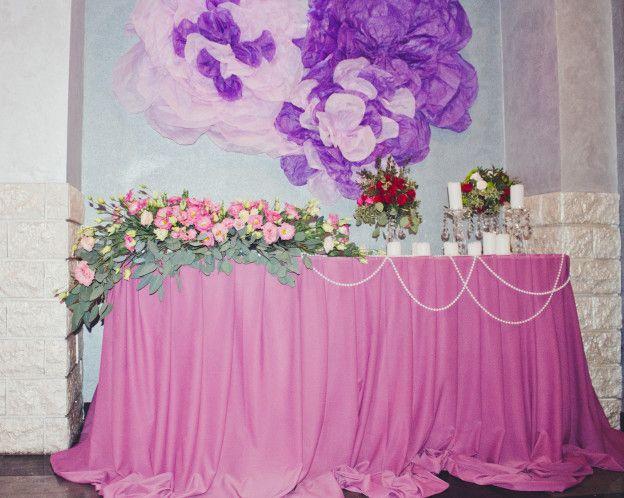 Свадебное оформление в розовом цвете. Бумажные цветы из бумаги тишью. Фиолетовая свадьба. Свадьба Минск . Украшение зала в Минске и РБ . Оформление свадьбы в фиолетовом цвете +375296863098
