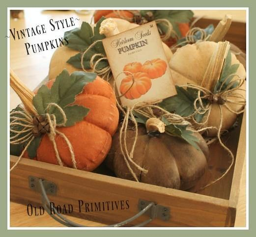 Primitive Pumpkin Pattern Vintage Style Table Top Pumpkins