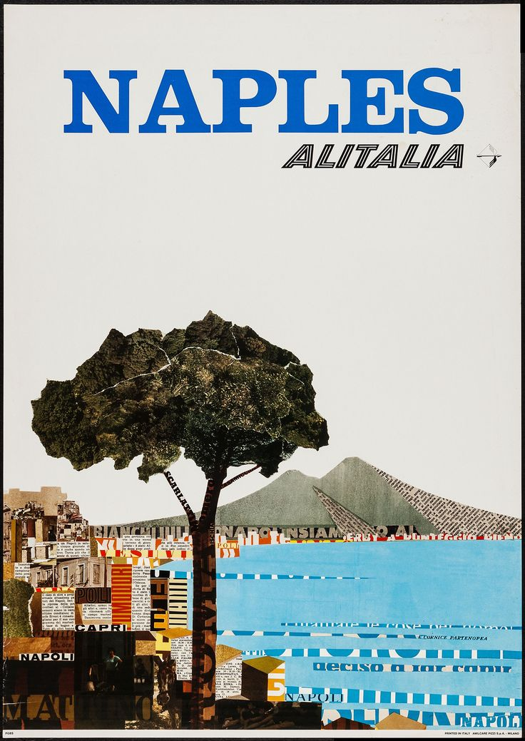 Alitalia Airlines Poster (1966): Naples, Italy
