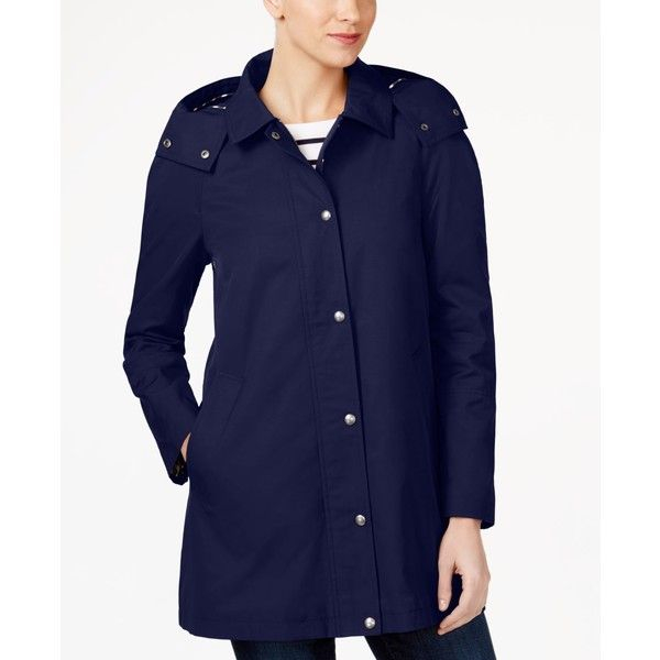 Tommy Hilfiger Water-Resistant Hooded Snap-Front Raincoat ($130) ❤ liked on Polyvore featuring outerwear, coats, navy, blue raincoat, navy blue coat, navy blue raincoat, tommy hilfiger coat and navy raincoat