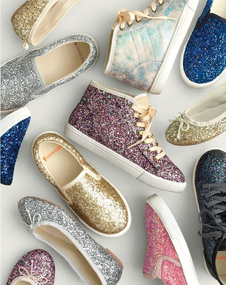 J.Crew girls' slide sneaker in glitter, iridescent high-top sneaker, high-top sneaker in glitter and ballet flats in classic glitter.