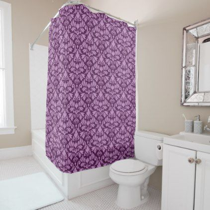 Flourish Damask Pattern Pink on Plum Shower Curtain - pattern sample design template diy cyo customize