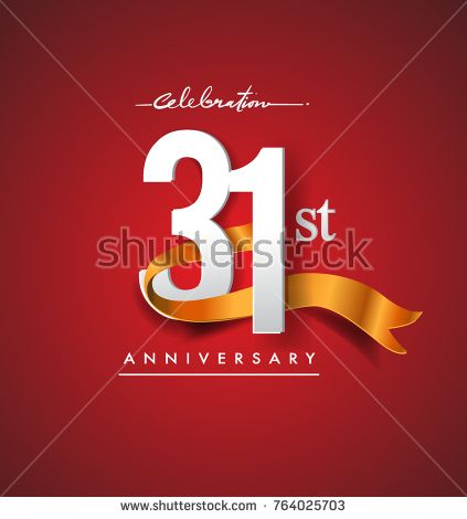 31st anniversary logotype with golden ribbon isolated on red elegance background, vector design for birthday celebration, greeting card and invitation card.