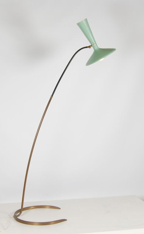 Brass and Enameled Metal Floor Lamp by Stilnovo, 1950s. Celadon green