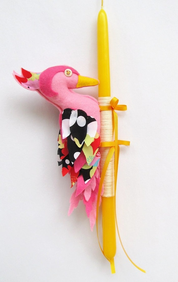 Handmade Pink Woodpecker doll Yellow Easter Candle by mouhoxlab, €19.00