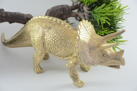 Set of 4 Large Golden Dinosaurs  Room Decor by CubsAndBees on Etsy, $32.00
