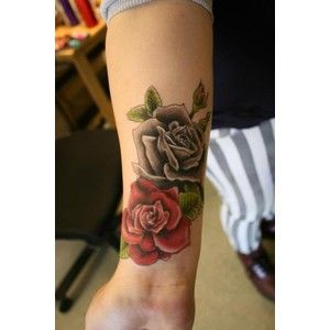 Rose Tattoo on Wrist - for me I would change the red rose to a white rose