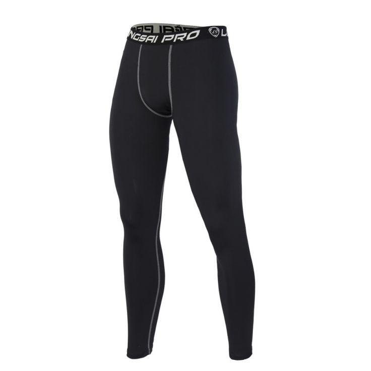 Hot Sale Men Compression Dry-fast Tight Long Pants Black Trousers Joggers Trousers Slim Fit Mallas Hombre Fitness Pants Est 2017 #Affiliate