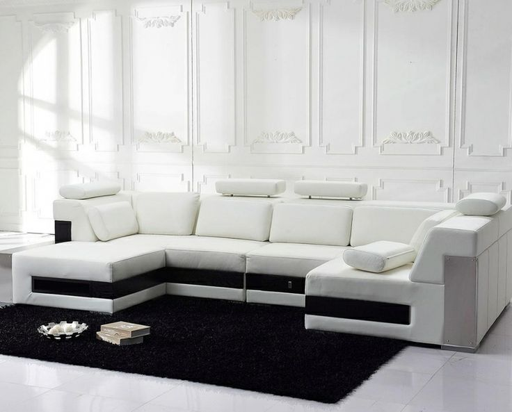 Modern White Top Grain Leather Sectional Sofa Storage Drawers Tosh
