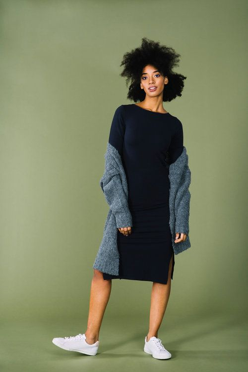 Dark Navy Fairtrade and Organic Tight Split Dress KTO back