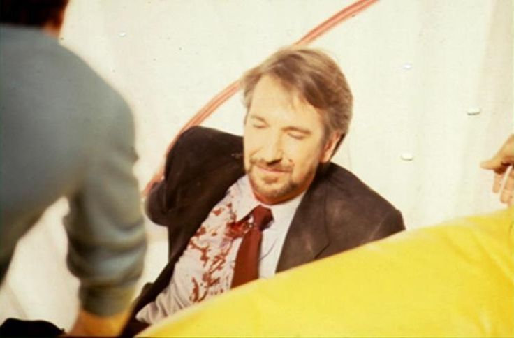 "Behind the scenes, after Hans Gruber meets his demise ""Die Hard"" 1988"