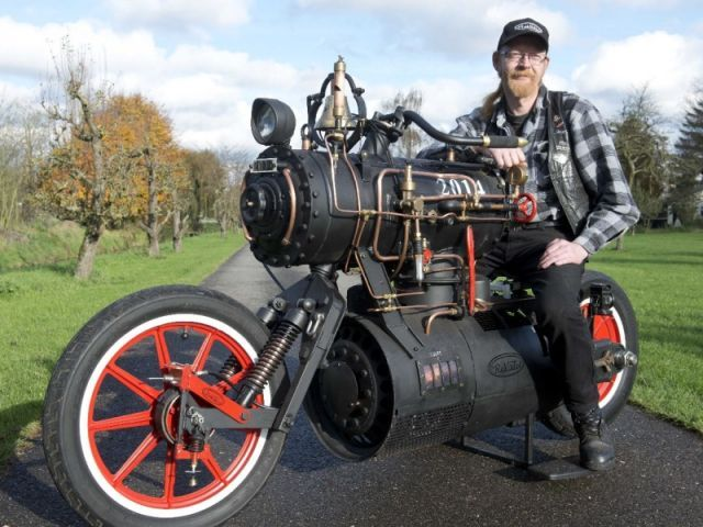 Custom Steam Engine-Powered Motorcycle