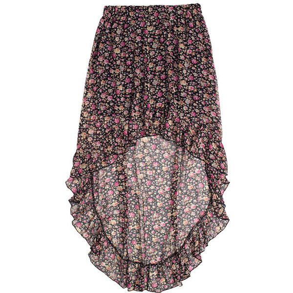 Floral High-Low Skirt (16 BRL) ❤ liked on Polyvore featuring skirts, bottoms, saias, faldas, dip hem skirt, floral ruffle skirt, ruffle high low skirt, floral skirt and short in front long in back skirt