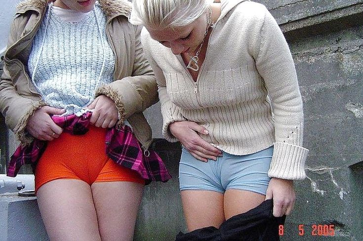 Girls showing their camel toe