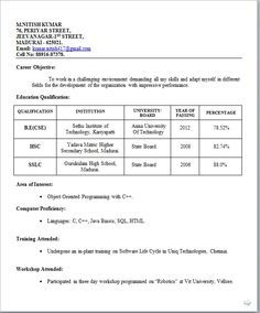 latest resumes for freshers - Fresher Resume Format