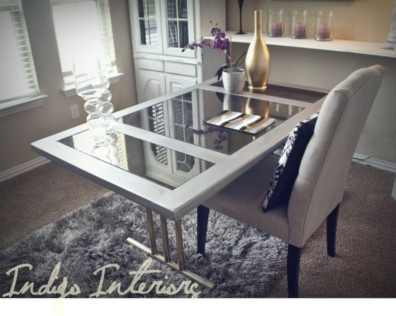 Metallic Silver Mirrored Desk / Table With Gold Legs