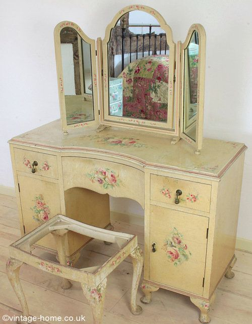 Vintage Home - Pretty 1920s Dressing Table, Mirror and Stool, all adorned with Handpainted Flowers: www.vintage-home.co.uk