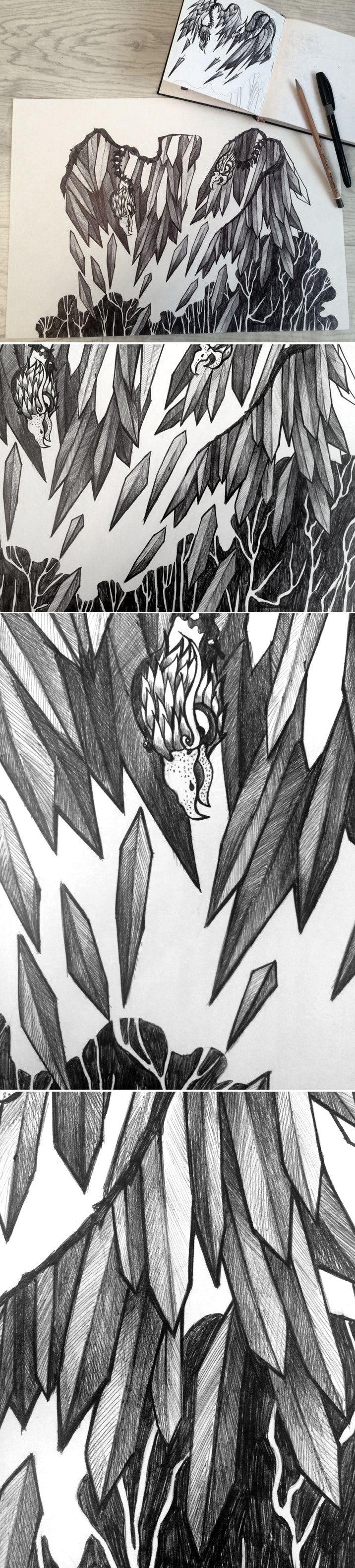 Графика на тему подвигов Геракла, подвиг 3 - Истребление Стимфалийских птиц. гелевая ручка The graphics on the theme of the labors of Hercules , a feat 3 - Extermination stymphalian birds . gel pen #art #graphics #drawing #birds #feathers #Hercules