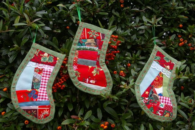 Christmas Stocking Decorations patchwork green. £14.00