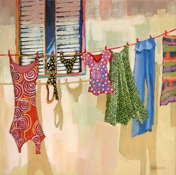Laying it on the Line, contemporary urban scene painting of laundry, painting by artist Carolee Clark