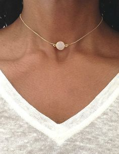 Gold Choker Necklace Gold Druzy Necklace Gold Choker Chain White Druzy Choker Dainty Gold Choker Druzy Jewelry Mothers Day Gift
