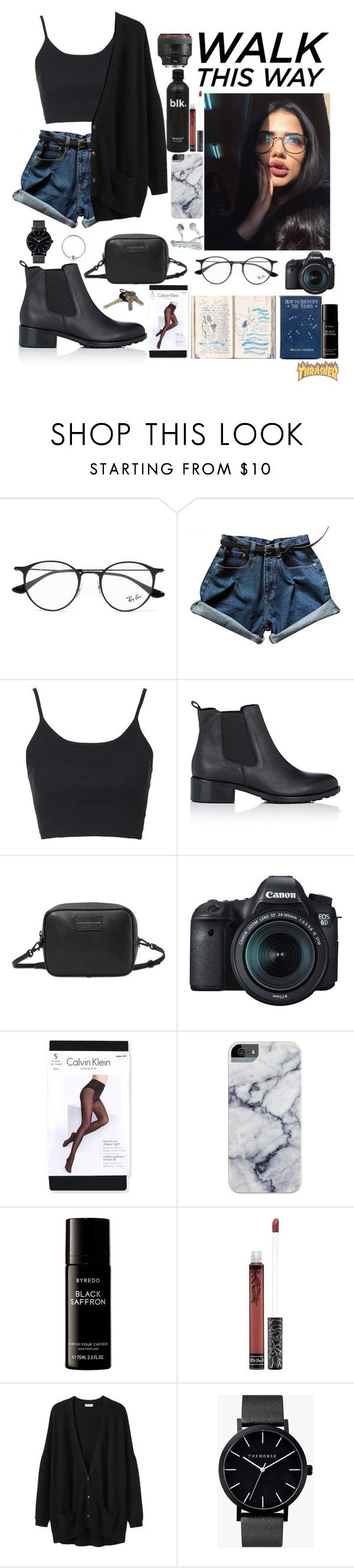 """""""WALK This Way"""" by futureisnow ❤ liked on Polyvore featuring Ray-Ban, Topshop, Barneys New York, Marc by Marc Jacobs, Eos, Calvin Klein, Avon, Byredo, Kat Von D and Organic by John Patrick"""
