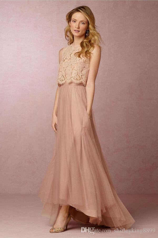 61ef65bd9ca6f 2016 Custom Cheap Bridesmaid Dresses Hi Lo Lace Top Tiers Tulle Blush Maid  Of Honor Gowns Beach Bohemian Wedding Party Dress Cheap Rental Bridesmaid  Dresses ...