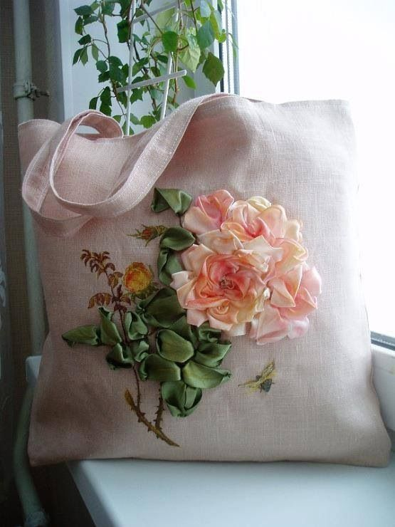 Love the ribbonwork flowers on the tote bag!