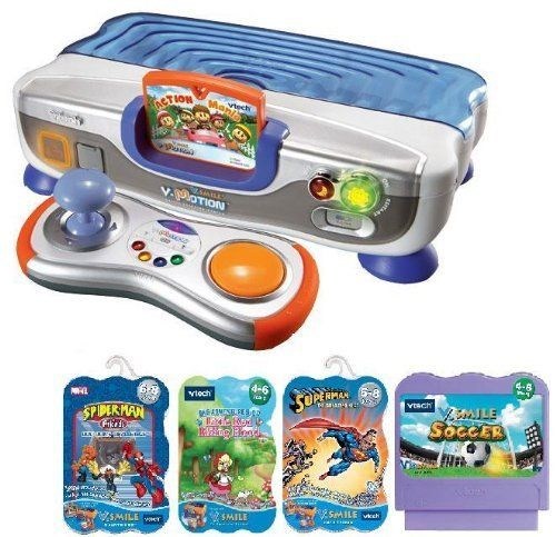 V.Smile VMotion System Bundle- 4 Extra Games by Vtech. $109.99. Wireless, motion activated joystick is also righty or lefty adaptable. 100% compatible with the entire V.Smile Smartridge library. Includes V.Link. Includes V-Motion System as pictured and 4 additional games: V Smile Game Spiderman & Friends - Doc Ock's Challenge, V Smile Game Little Red Riding Hood, V Smile Game Superman, V Smile Game Soccer Challenge. Web connect features allow for bonus game play downlo...