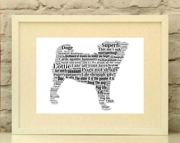 Pug Dog Personalised Print, custom pet portrait, pug portrait