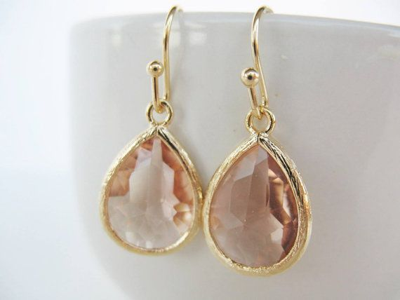 Gold peach glass drop earrings. Peach teardrop by 53Countesses, $19.00
