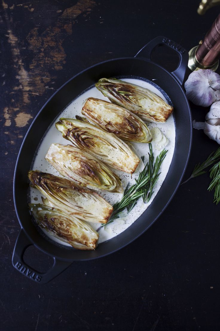 Buttery Braised Belgian Endive #madeinStaub Cast Iron Gratin | for the love of the south