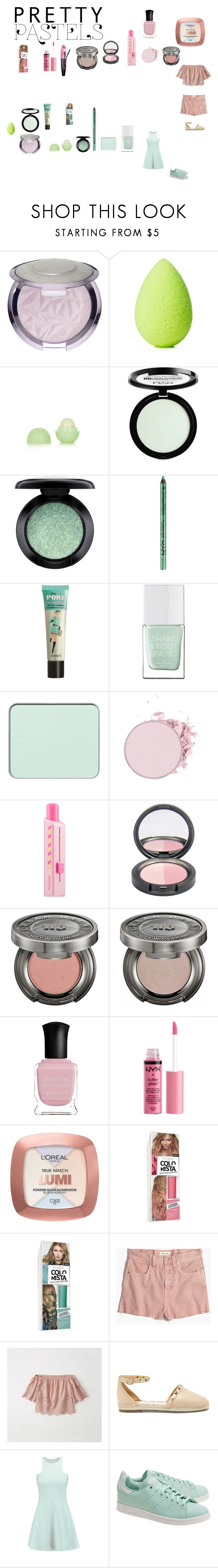 """""""pastel make up"""" by effyswanhaze ❤ liked on Polyvore featuring beauty, beautyblender, Eos, NYX, MAC Cosmetics, Benefit, The Hand & Foot Spa, shu uemura, Sephora Collection and Urban Decay"""