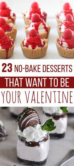 ** 23 NO-BAKE DESSERTS ** That Want To Be Your Valentine Nutella cheesecake is definitely better than a boyfriend. Courtesy of Buzzfeed 1. Triple Chocolate Brownies   Stacy Newgent / food52.com With three kinds of chocolate involved, an oven would just feel like the fourth wheel. Recipe here. 2. Red Velvet No-Bake Cheesecake   jellytoastblog.com Oreos and …