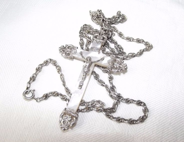 Long Antique French Victorian Silver Chain Necklace w/Large Sterling M.O.P Cross
