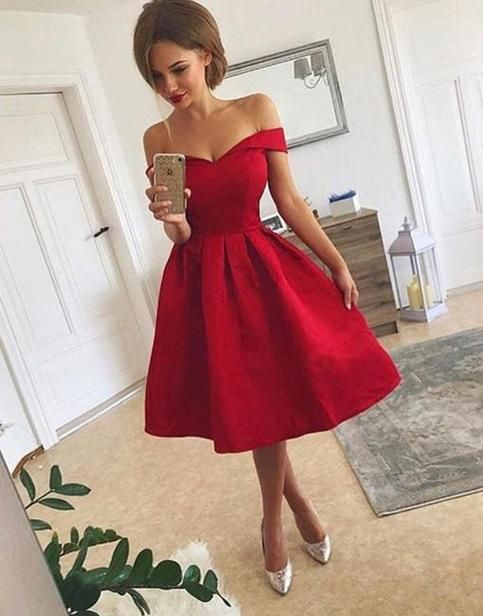 44dcd6cfca5 A Line Off Shoulder Short Red Prom Dress