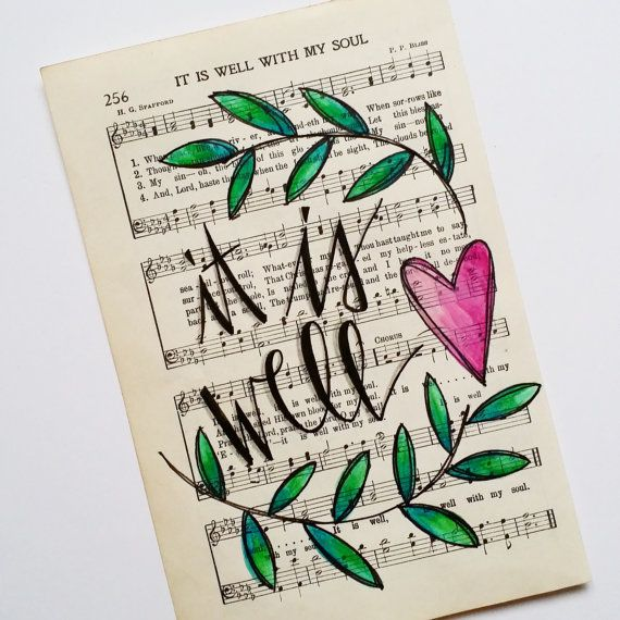 Hand Painted Vintage Hymn Page It Is Well with by GrowingMeadows hymnal hymn art painting