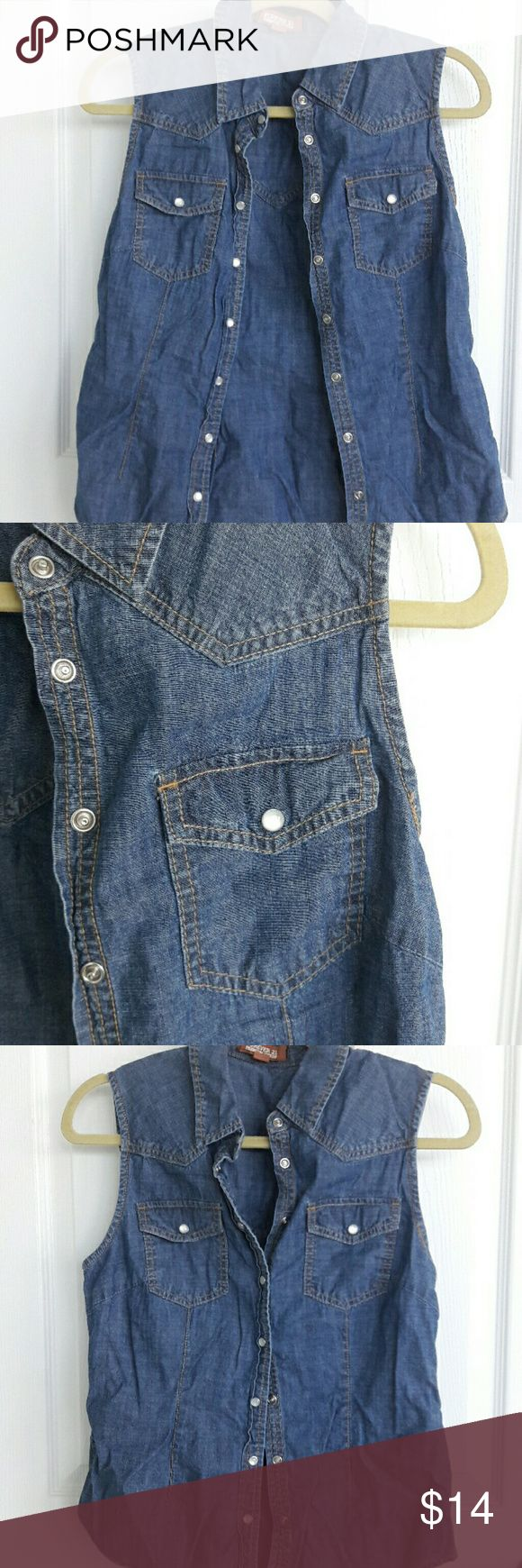 Sleeveless Denim Shirt Excellent condition. Nice fit. Tops