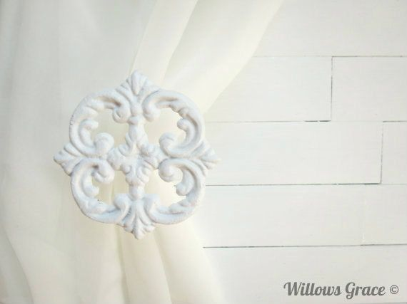 Curtain Hardware / Two Metal Curtain Tie Backs / Curtain Holdback / Drapery  Tie Back / Shabby Chic Window / White Decor / Curtain Hook By WillowsGrace  On ...