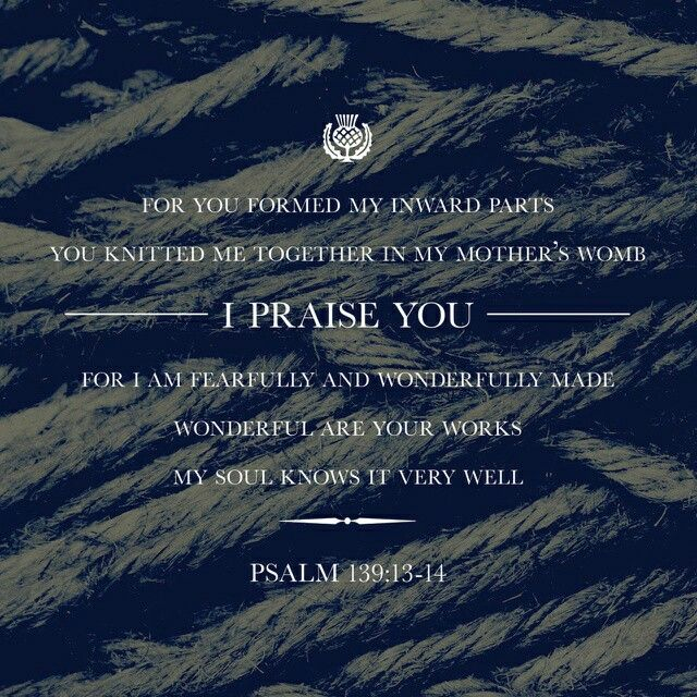 For you created my inmost being; you knit me together in my mother's womb.  I praise you because I am fearfully and wonderfully made; your works are wonderful, I know that full well. Psalm 139:13-14 NIV