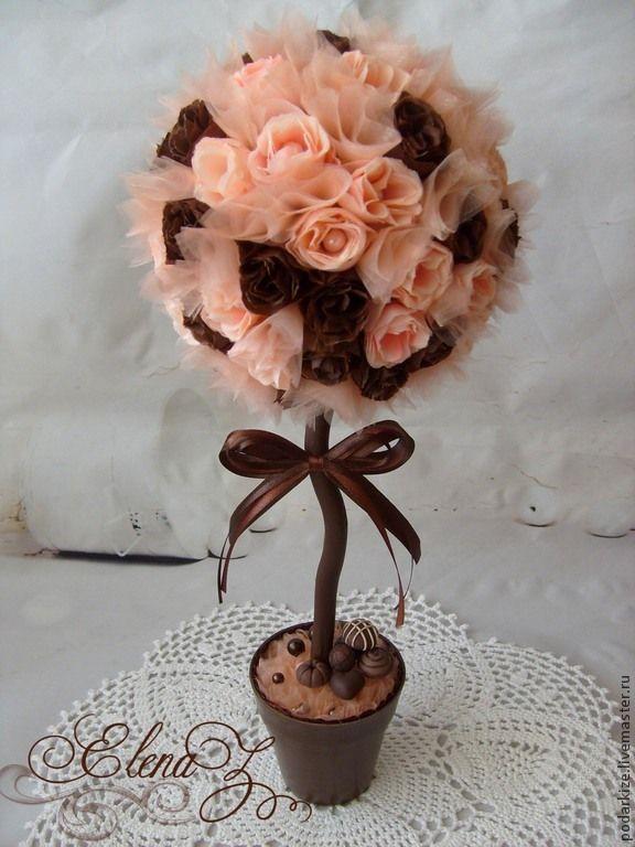 """Купить Топиарий """"Шоколадная мечта"""" - розовый, шоколадный, топиарий, Дерево счастья, подарок, подарок девушке"""