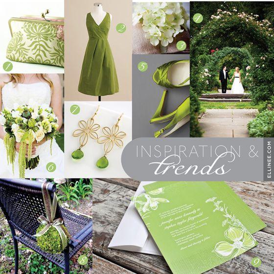 pretty green colors - Enchanted Garden Wedding Mood Board by Ellinee.com