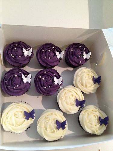 Deep purple and cream birthday cupcakes by Cupcake Passion (Kate Jewell), via Flickr